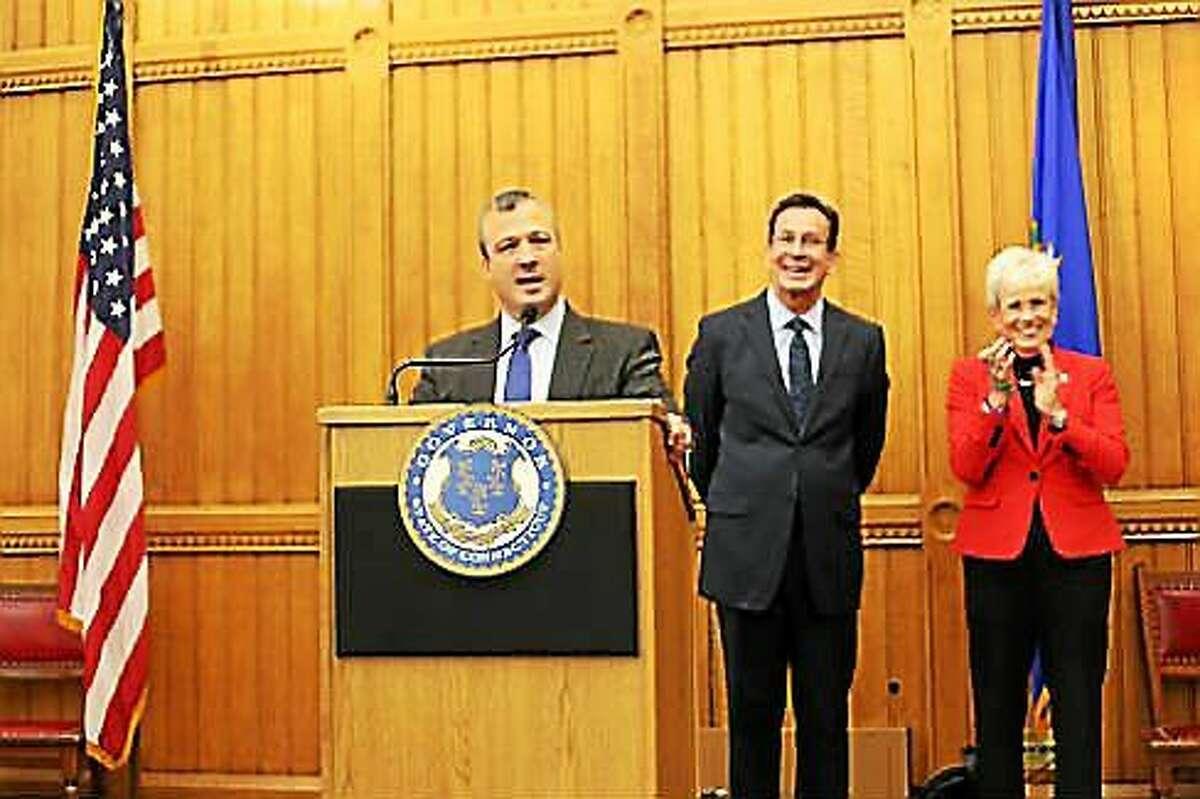 Jonathan Harris, Gov. Dannel P. Malloy, and Lt. Gov. Nancy Wyman
