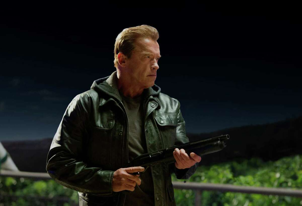 """This photo provided by Paramount Pictures shows, Arnold Schwarzenegger as the Terminator in """"Terminator Genisys,"""" from Paramount Pictures and Skydance Productions."""