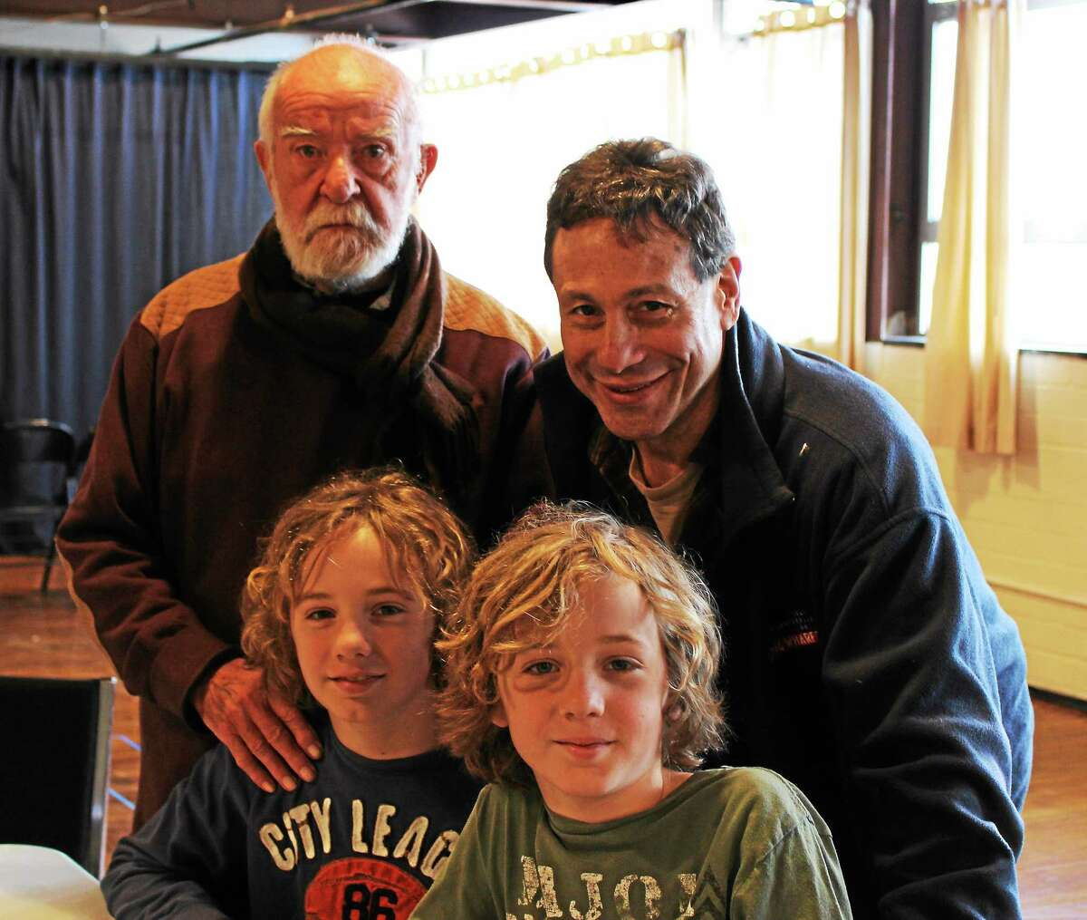 """Long Wharf Theatre photo Althol Fugard joins """"Hummingbird"""" director Gordon Edelstein, Long Wharf Theatre artistic director, and Aiden and Dermot McMillan, the Middletown twins who will alternate the role of the playwright's grandson."""