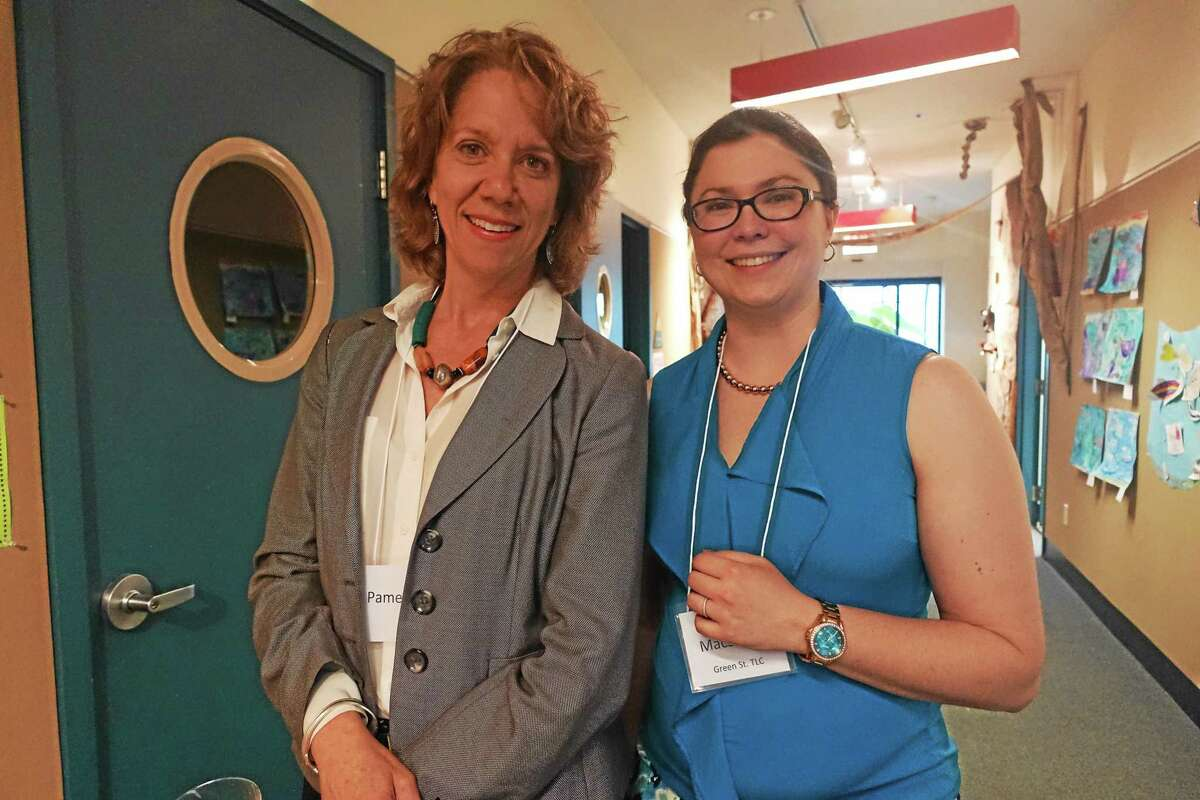 Wesleyan University's Green Street Teaching and Learning Center celebrated 10 years of work with youth and adults recently. From left are Pamela Tatge, director of the Wesleyan Center for the Arts, and Green Street Director Sara Macsorley.