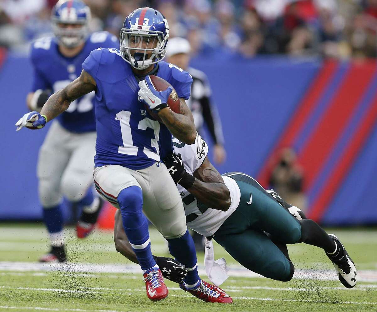 Giants wide receiver Odell Beckham finished the season with 91 catches for 1,305 yards and 12 touchdowns in 12 games.