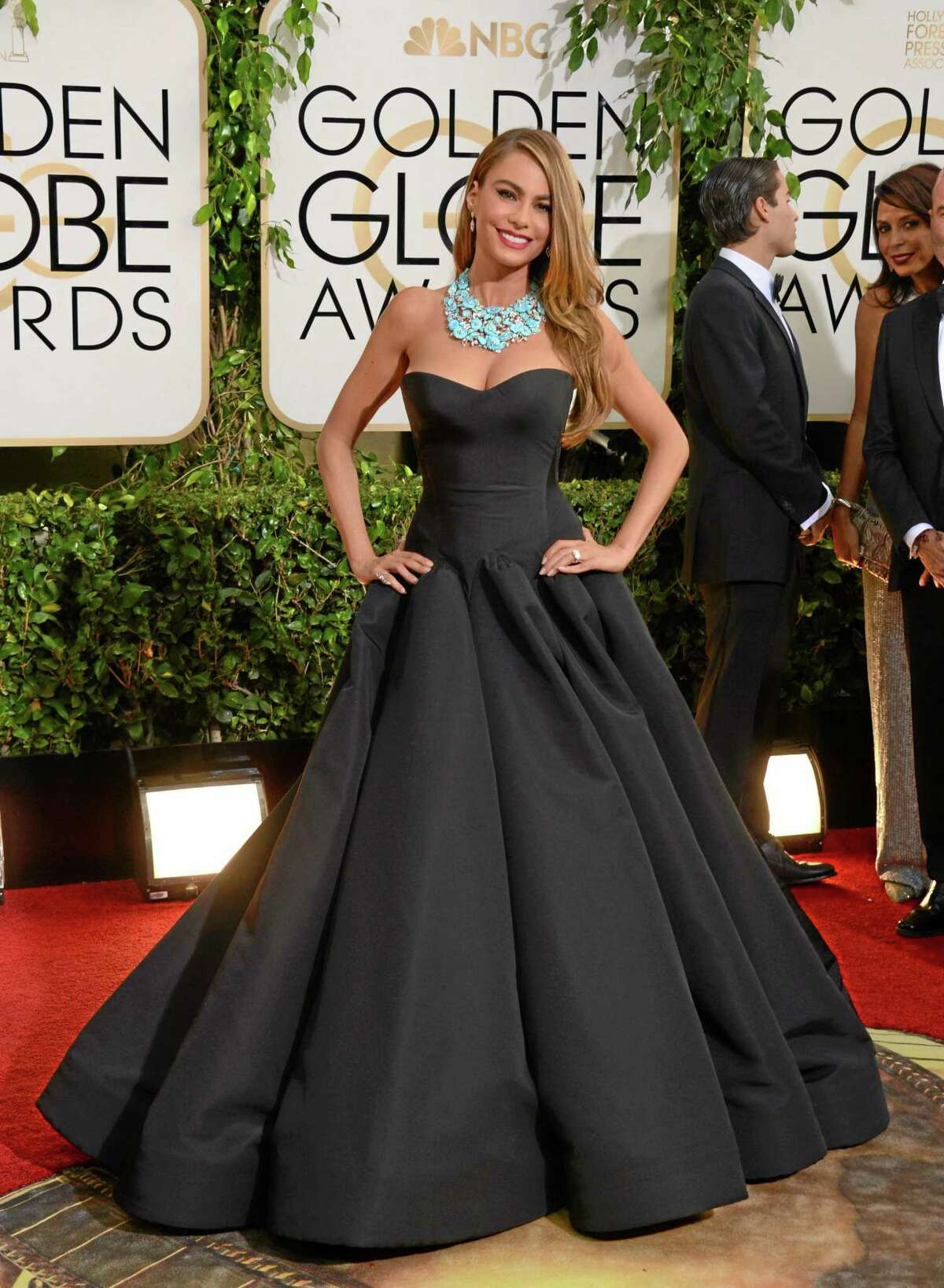 Sofia Vergara arrives at the 71st annual Golden Globe Awards at the Beverly Hilton Hotel on Sunday, Jan. 12, 2014, in Beverly Hills, Calif. (Photo by Jordan Strauss/Invision/AP)