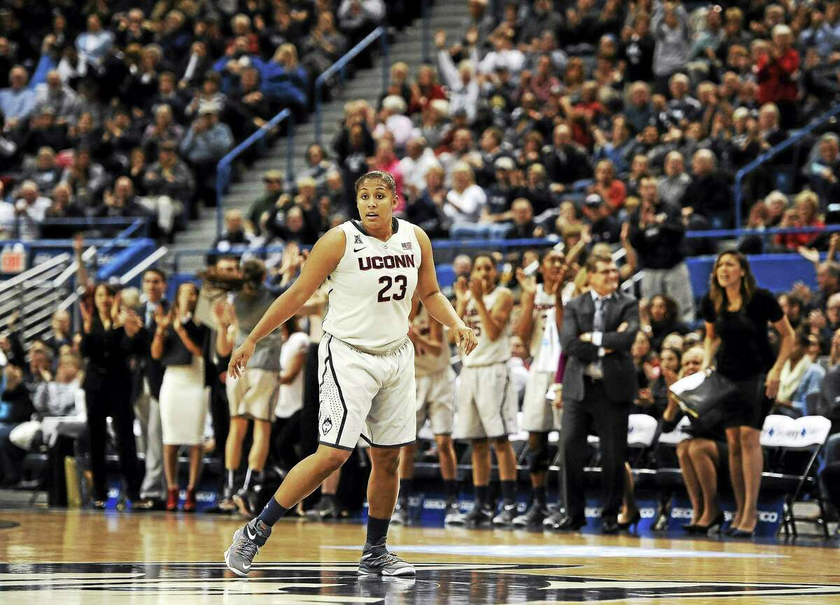 UConn's Kaleena Mosqueda-Lewis and fans react after Mosqueda-Lewis hit a 3-pointer against Duke on Monday in Hartford.