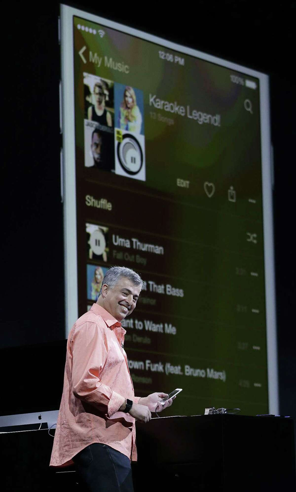 Eddy Cue, Apple senior vice president of Internet Software and Services, speaks about music at the Apple Worldwide Developers Conference in San Francisco June 8.