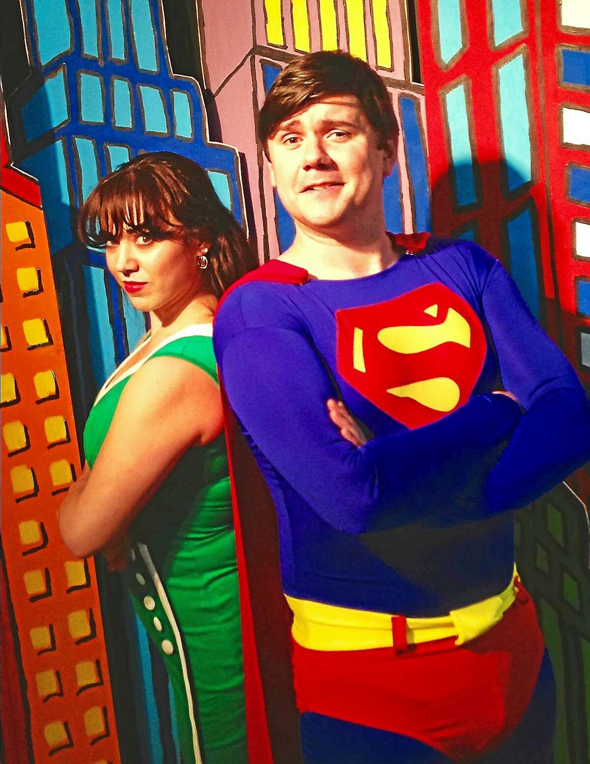 """Photo courtesy of CT Cabaret Theatre Rick Bennett as Superman and Kaite Corda as Lois Lane are the leads in the Connecticut Cabaret Theatre's production of """"It's a Bird, it's a plane, it's Superman,"""" a musical comedy."""