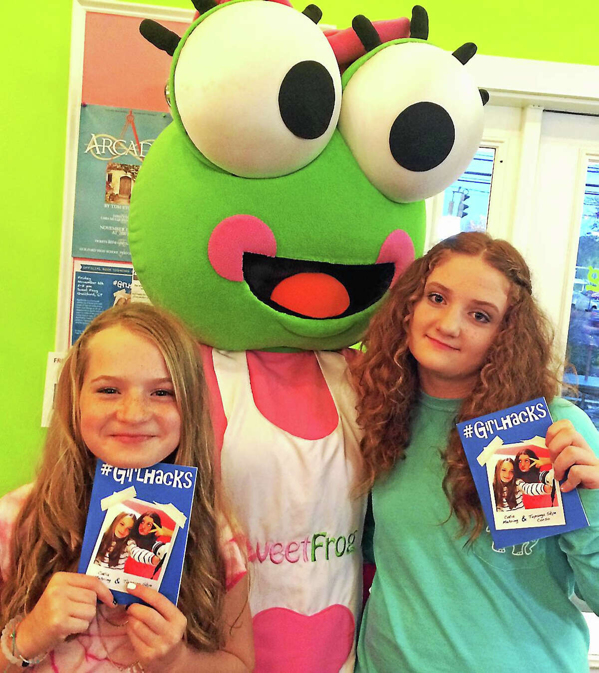 Tween authors Catia Mehring left, and Topanga Syke Corso right, at Froyo in Guilford.