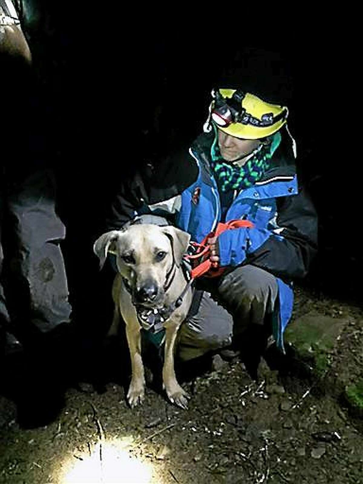 This Dec. 25 photo provided by Emily Amsler via the Oregon Humane Society shows Dr. Amy Amsler, Oregon Humane Society volunteer during a rescue of Sandy a yellow Labrador who got spooked on a Christmas Day hike in the Columbia Gorge.