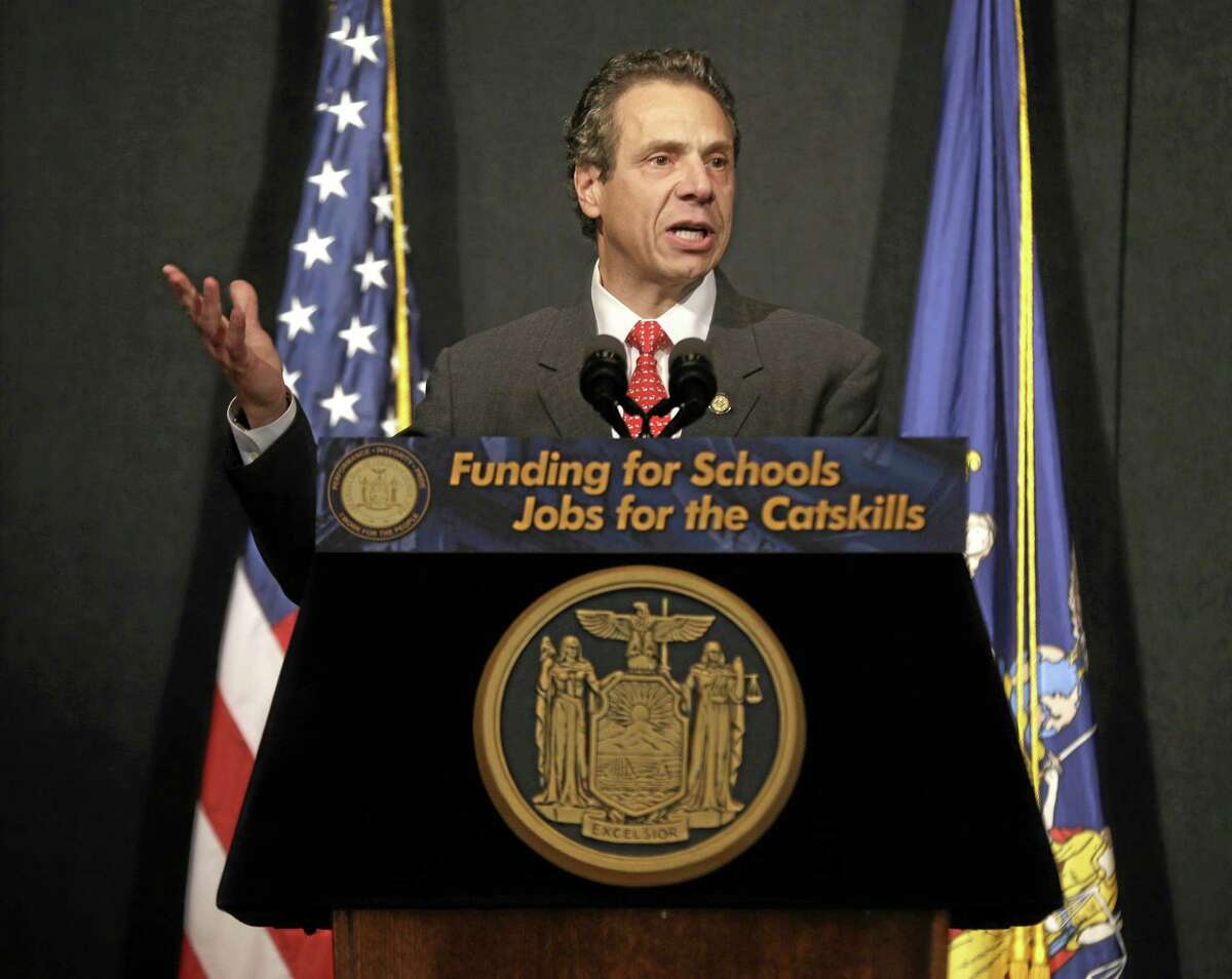 New York State Gov. Andrew Cuomo speaks during a news conference in Bethel, N.Y. in January.