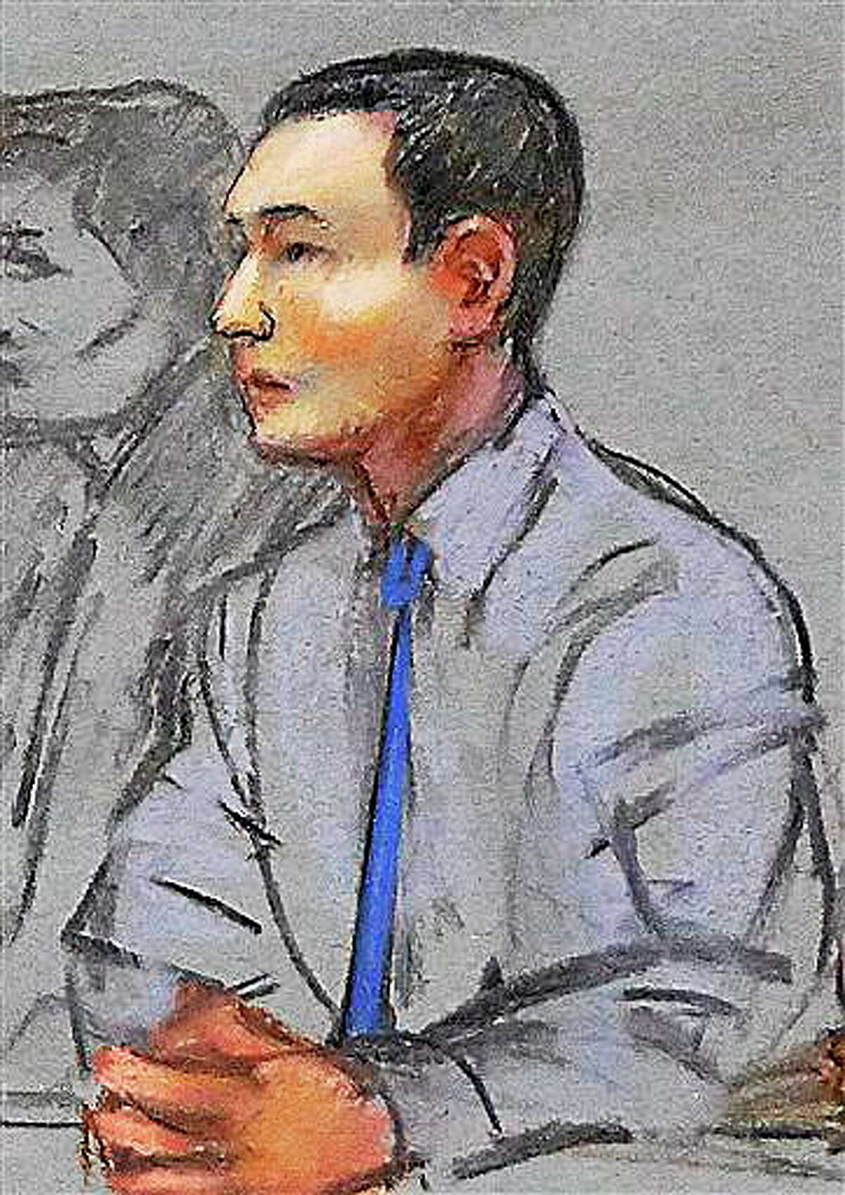 In this May 13, 2014 file courtroom sketch, defendant Azamat Tazhayakov, a college friend of Boston Marathon bombing suspect Dzhokhar Tsarnaev, sits during a hearing in federal court in Boston. His federal trial is set to begin Monday, July 7, 2014 in Boston on obstruction of justice charges. Tazhayakov, of Kazakhstan, is accused with another friend of removing items from Tsarnaev's dorm room, but is not charged with participating in the bombing or knowing about it in advance.