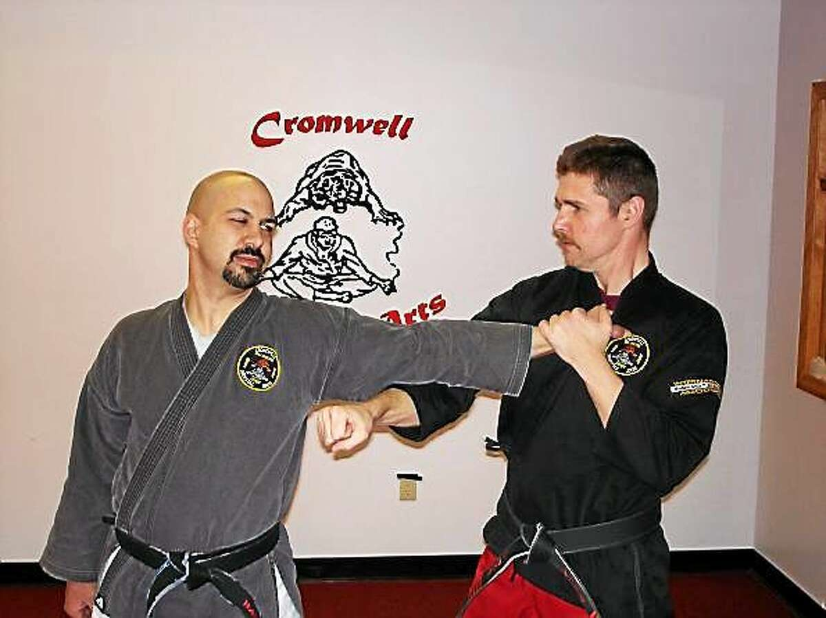 Cromwell Martial Arts Sensei Frank Shekosky is ranked 6th-degree black belt in karate and 5th-degree blackbelt in okinawan weapons.