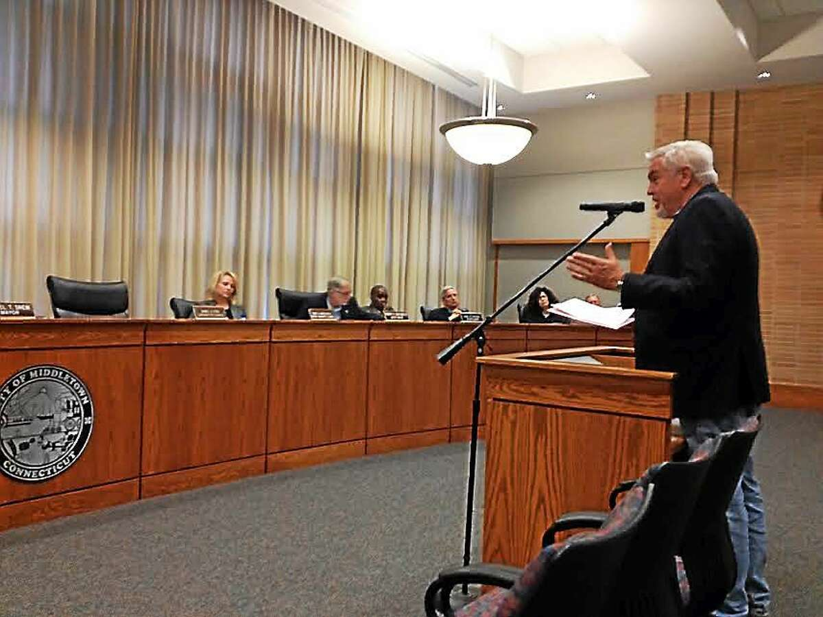 Middletown Board of Education Secretary Ed McKeon addresses the common council during a public hearing on the 2015-16 budget this week.
