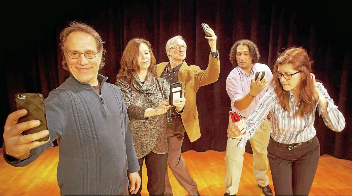 """The cast of """"Methuselah's Guide to Online Dating"""" takes selfies, hoping to impress the one."""