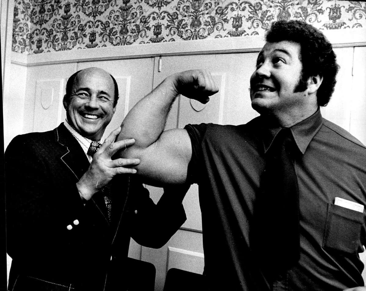 In this Oct. 6, 1972 file photo, wrestler Ken Patera, right, poses with promoter Verne Gagne in Minneapolis. Gagne, one of professional wrestling's most celebrated performers and promoters, died on Monday at age 89.