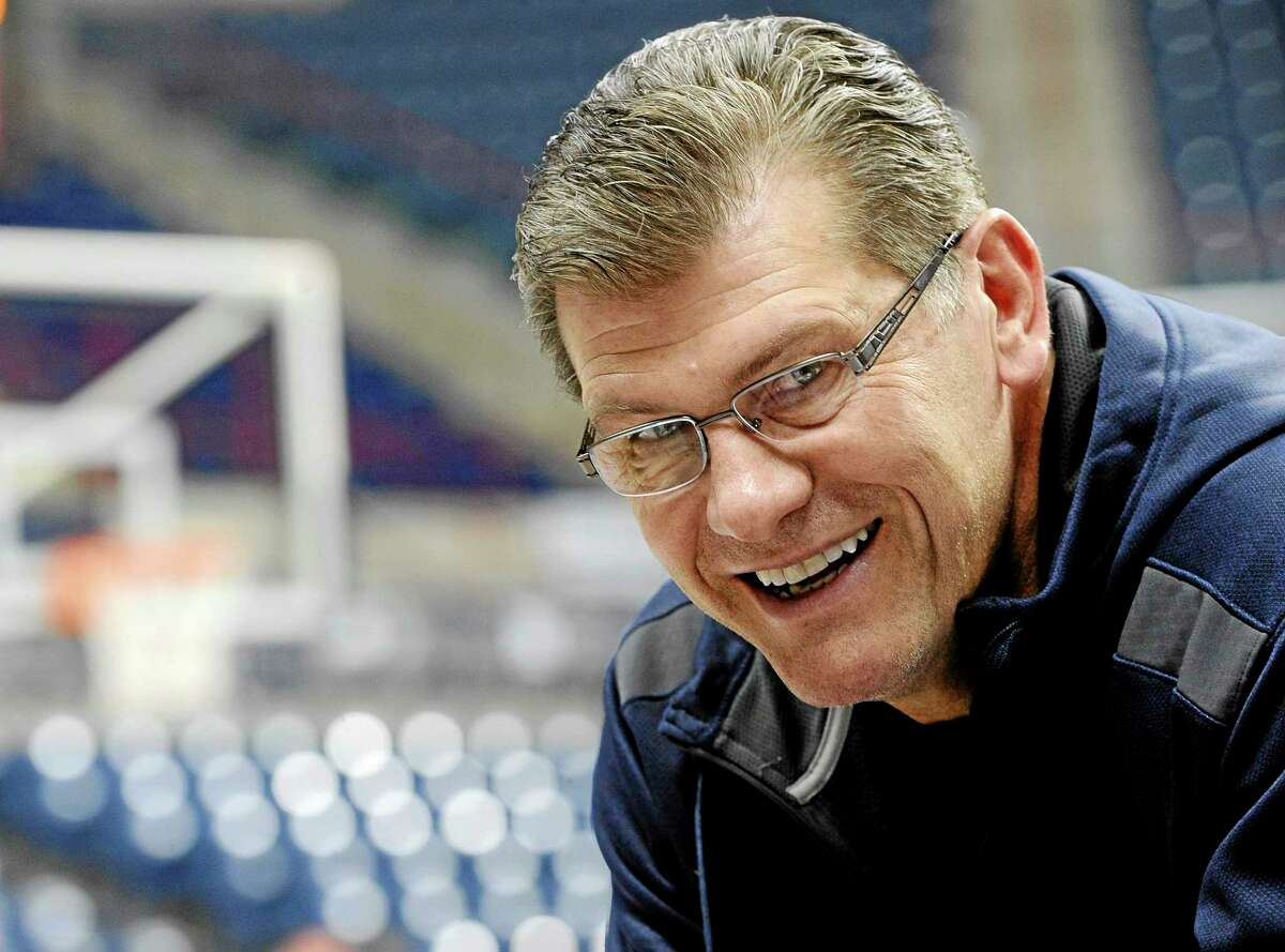Connecticut head coach Geno Auriemma smiles during practice at the NCAA women's college basketball tournament, Saturday, March 22, 2014, in Storrs, Conn. Connecticut plays Prairie View A&M in a first-round game on Sunday. (AP Photo/Jessica Hill)