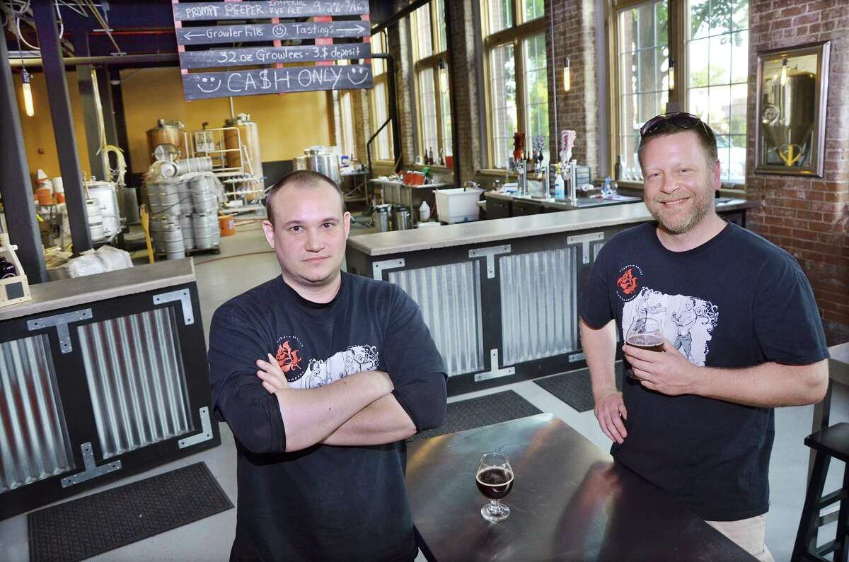 Brewers Andrew Daigle and Shane Lentini own Stubborn Beauty Brewing Company in the Remington Rand building in Middletown. Stubborn Beauty has been in operation for just over four months and has provided 16 different varieties of beer to restaurants in Middletown and around the state.