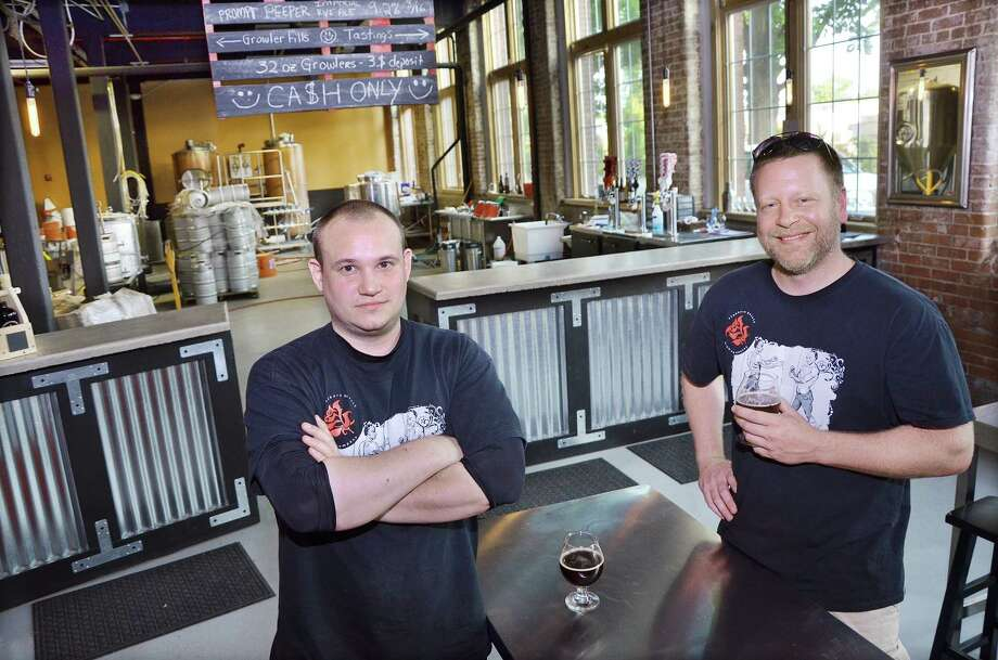 Brewers Andrew Daigle and Shane Lentini own Stubborn Beauty Brewing Company in the Remington Rand building in Middletown.  Photo: Catherine Avalone - The Middletown Press