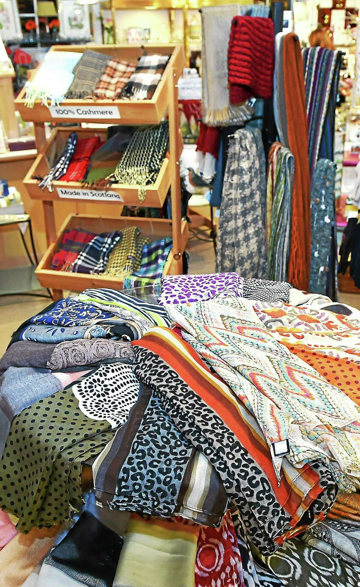 (Catherine Avalone - New Haven Register) Scarves at Bowerbird on December 4, 2014.