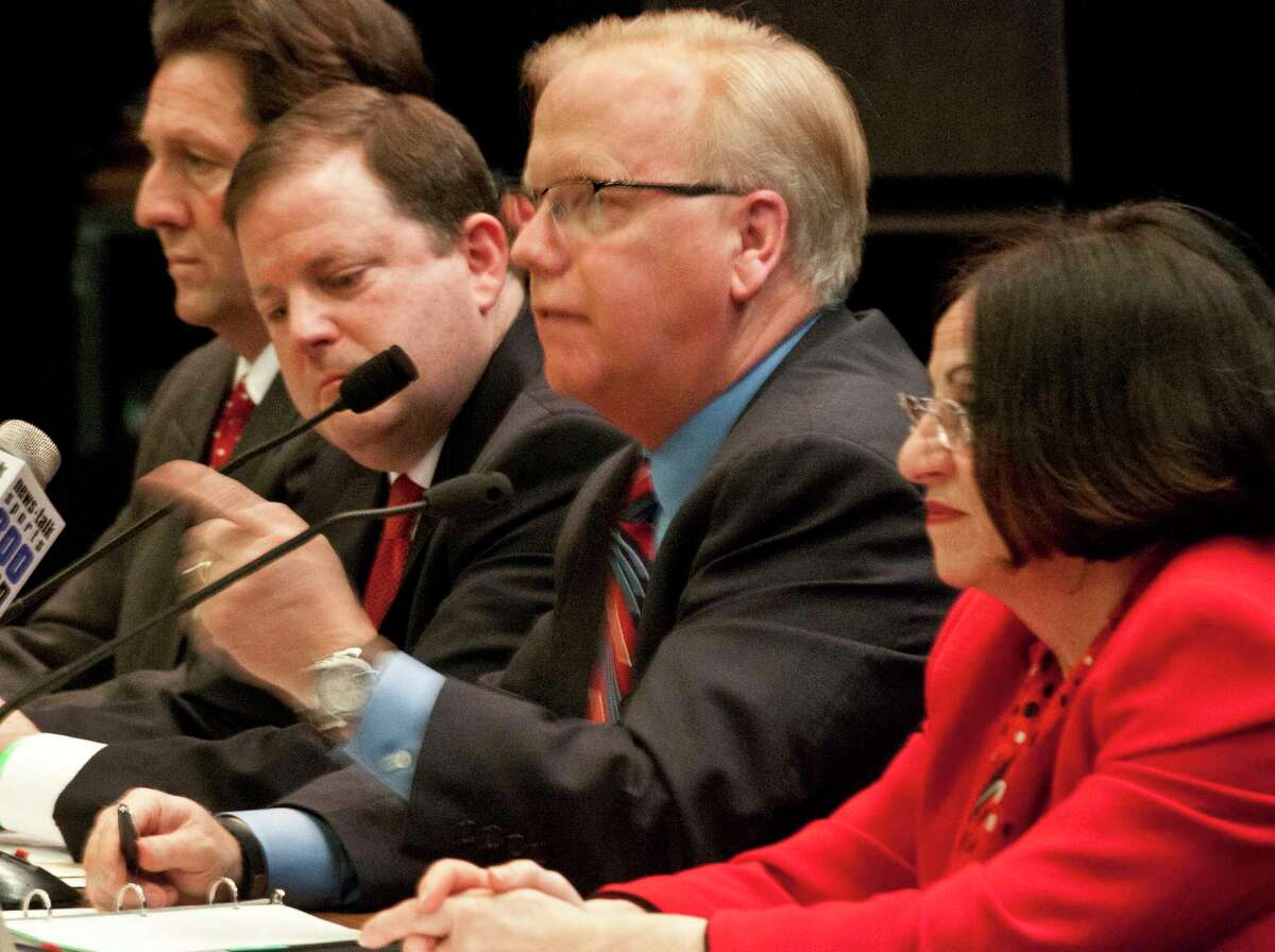 Melanie Stengel ó Register ¬ From left, Republican candidates for governor Joe Visconti, John McKinney, Mark Boughton, Toni Boucher participate in a debate on Feb. 16.