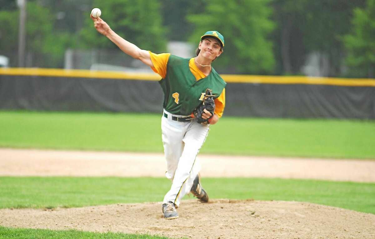 Jimmy Zanor - Middletown Press RCP Tucker Lord tossed a two-hitter with 10 strikeouts in a 2-0 win over West Hartford Thursday at Monnes Field.