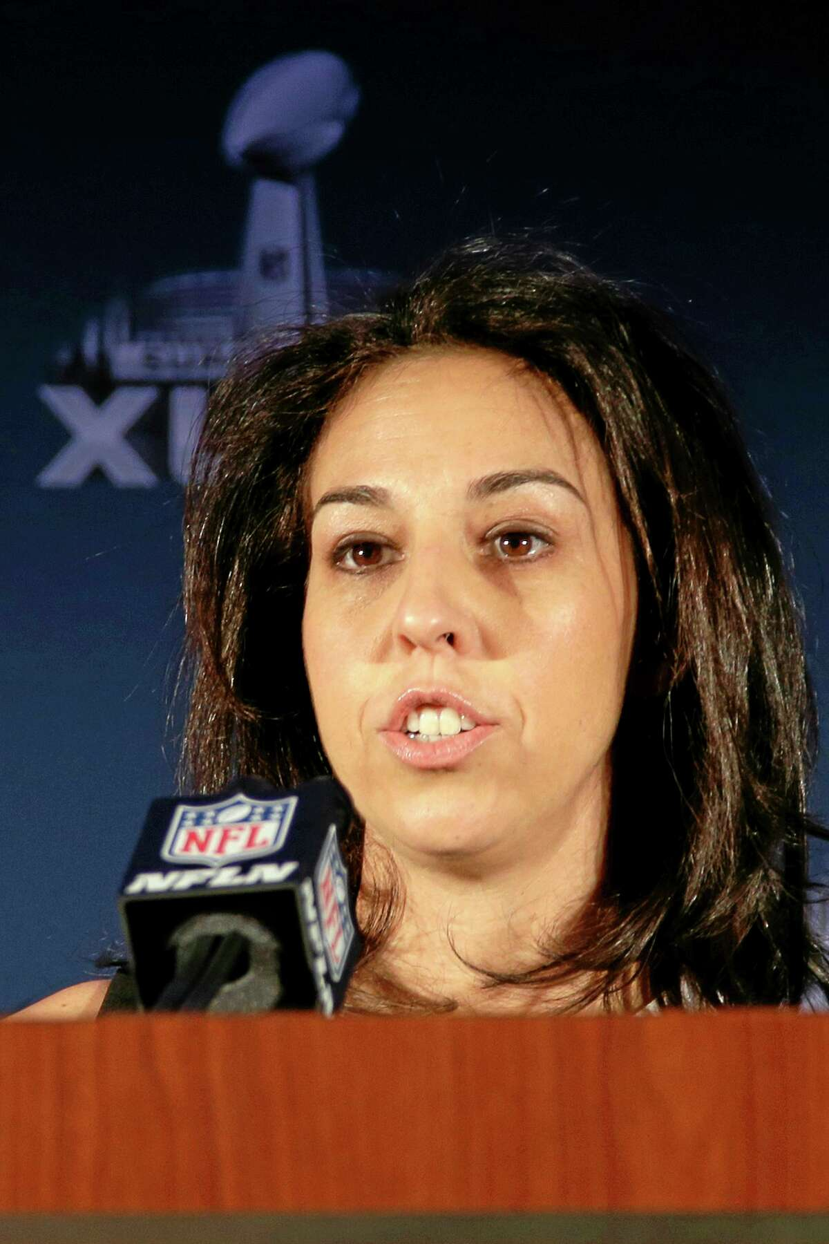 In this Jan. 30 photo, NFL senior vice president Anastasia Danias speaks during a news conference at the NFL Super Bowl XLVIII media center in New York.