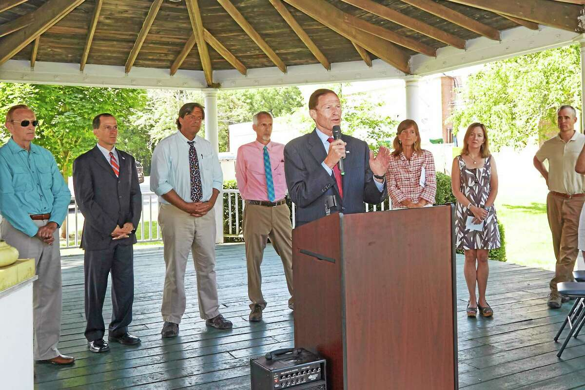 """U.S. Sen. Richard Blumenthal, D-Conn., speaks about """"The Preserve"""" at gathering Monday in Old Saybrook."""