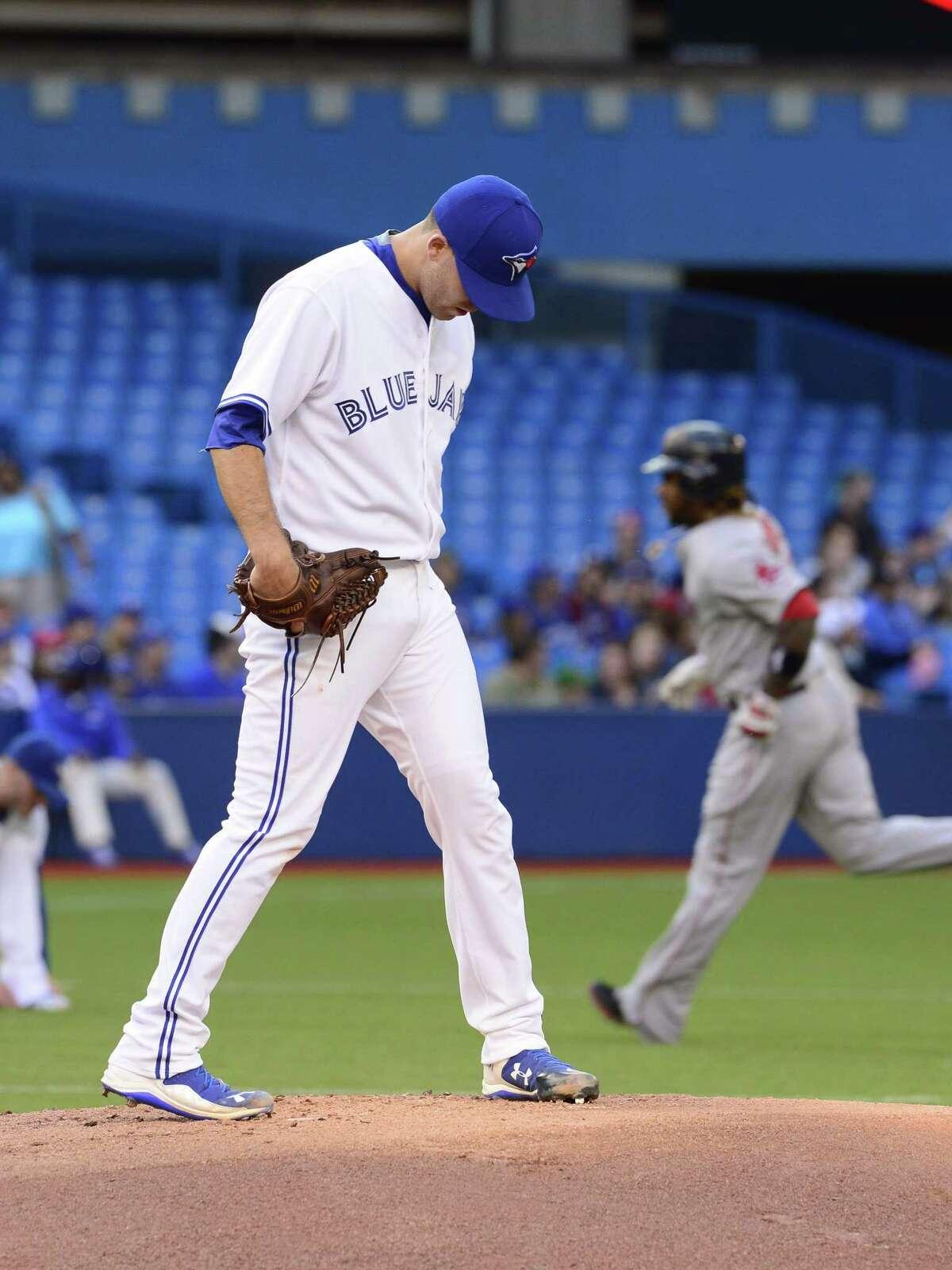 Toronto Blue Jays starting pitcher Matt Boyd gave up seven runs without recording an out on Thursday.