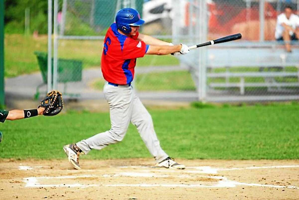 Middletown's Jared Pflaumer delivers a hit in Post 75's series sweep over Guilford.