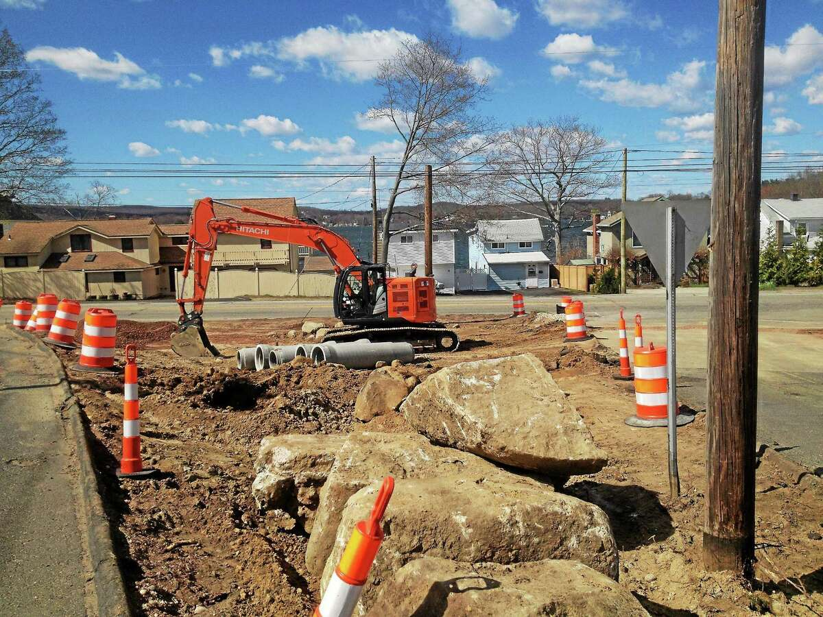 Work continues at the intersection of routes 196 and 66 in East Hampton.