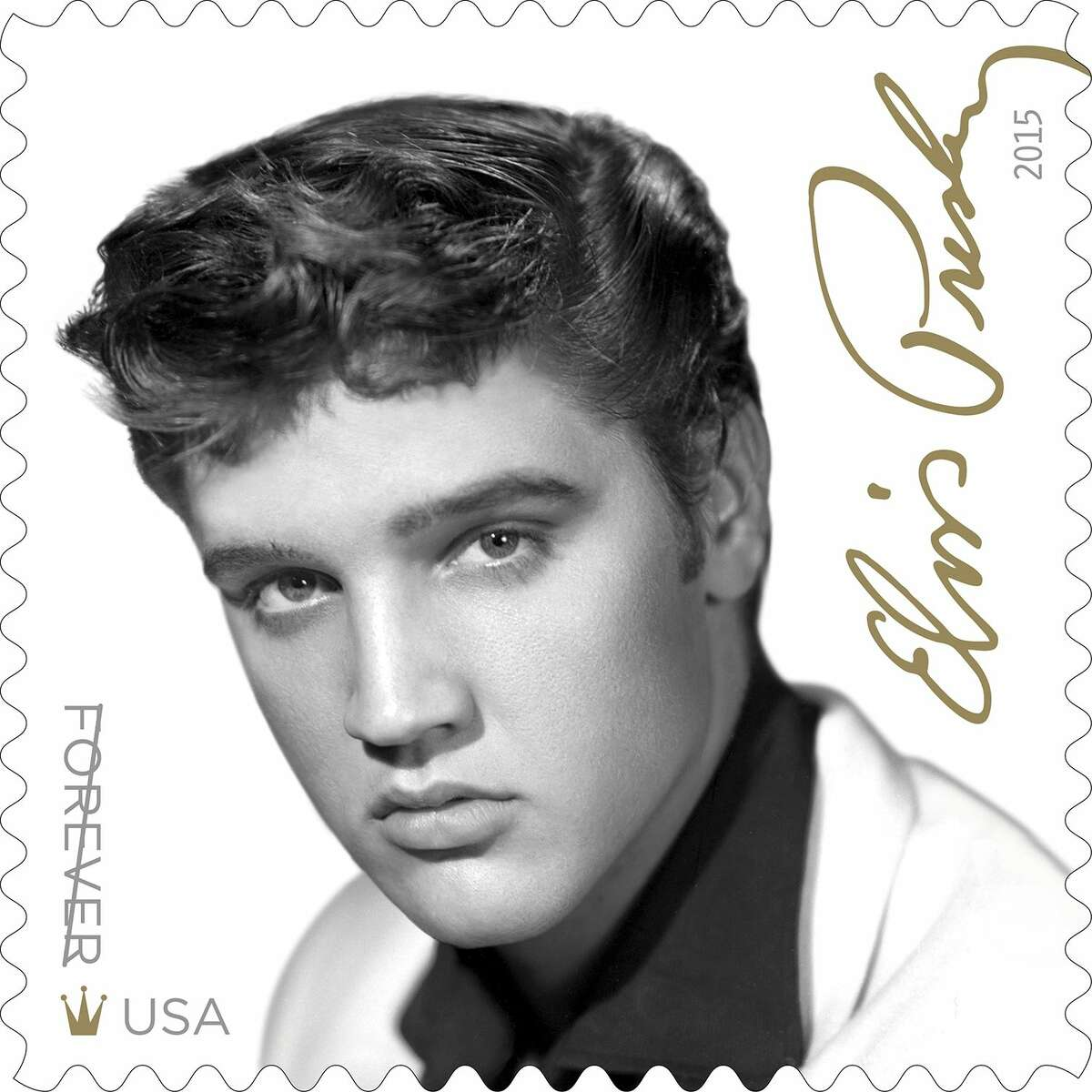 """This image released by the United States Postal Service shows the new Elvis Presley forever stamp available August 12. The USPS is also releasing an Elvis Presley greatest hits CD """"Forever Elvis"""" to go along with the new commemorative stamp. (USPS via AP)"""