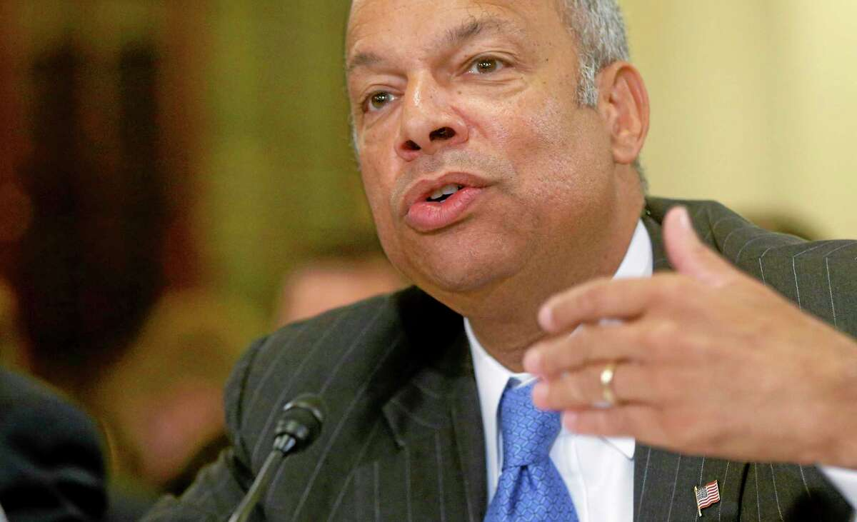 Homeland Security Secretary Jeh Johnson testifies June 24 on Capitol Hill in Washington. Johnson is ordering increased security measures at some overseas airports offering direct flights to the United States. The Homeland Security Department would not immediately say July 2 whether the increased measures were in response to intelligence about a specific threat. But a U.S. counterterrorism official says American intelligence has seen indications that certain terrorist groups in Yemen and Syria are working on a bomb that could make it through airport security undetected.