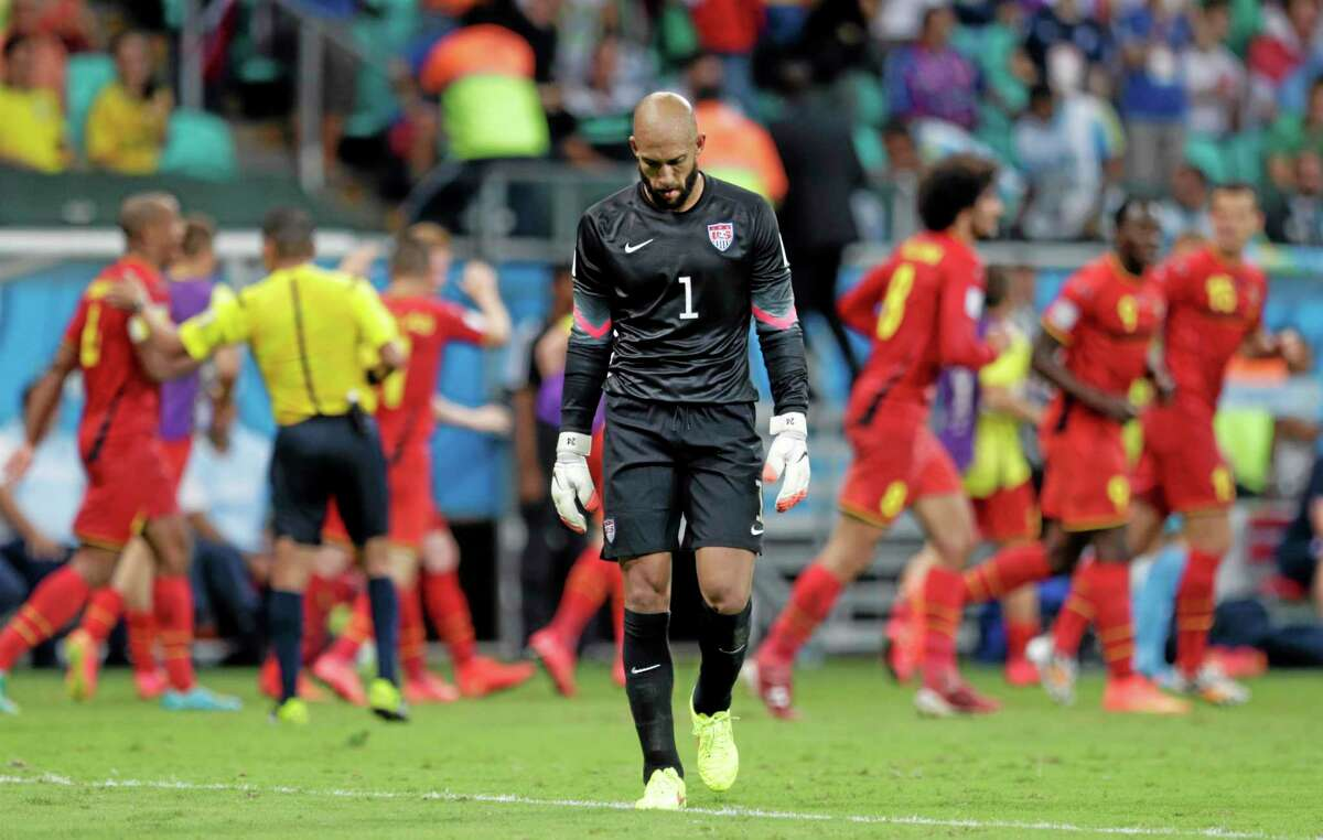 United States goalkeeper Tim Howard reacts after Belgium's Kevin De Bruyne scored the opening goal during Tuesday's World Cup match at the Arena Fonte Nova in Salvador, Brazil. The USA had a good run in Brazil, but, according to Register sports columnist Chip Malafronte, America will never be a world power until the sport of soccer becomes ingrained in our culture like baseball, football and basketball.