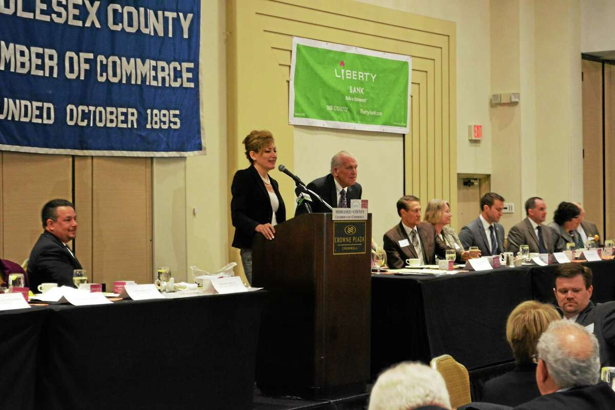 University of Connecticut President Susan Herbst delivers the keynote address at the April 27 Middlesex Chamber of Commerce breakfast meeting in Cromwell.