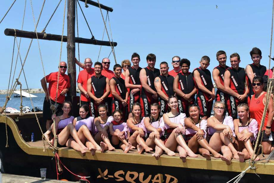 The Scotia X-Squad Waterski Team, run by the Serth family, competes at the Oswego Harbour Festival.