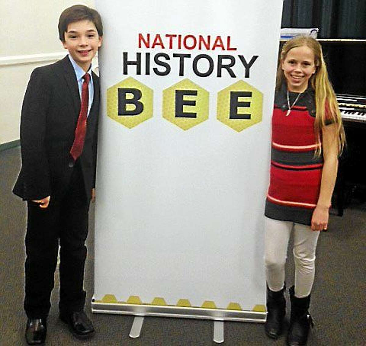 From left, Independent Day School students Jackson Meisner of Deep River and Katie Gendrich of Middletown are among four who have advanced to the National History Bee in Louisville, Kentucky. The competition takes place in late May.