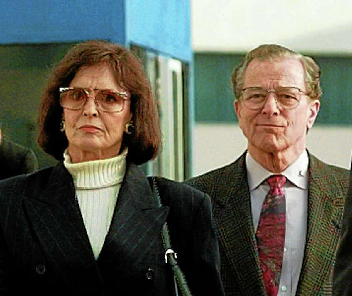 FILE - In a Jan. 21, 1997 file photo, Juditha and Louis H. Brown Jr., parents of Nicole Brown Simpson, arrive for the start of closing arguments in the O. J. Simpson wrongful death civil suit at Los Angeles County Superior Court in Santa Monica, Calif. Louis H. Brown Jr. died Thursday, July 3, 2014 at his Southern California home, said family attorney Natasha Roit. He was 90. (AP Photo/Kevork Djansezian, File)