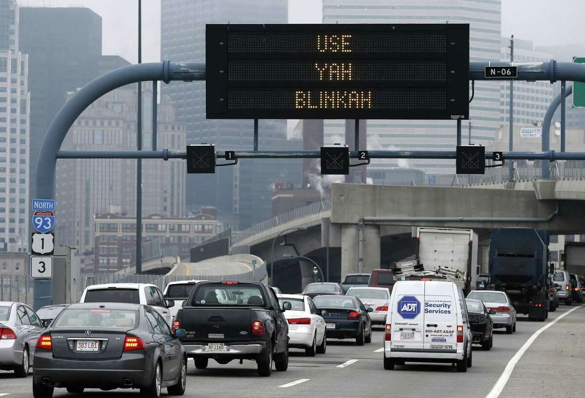 """In this May 9 file photo, an electronic highway sign on Interstate 93 shows the term """"Use Yah Blinkah"""" in Boston."""