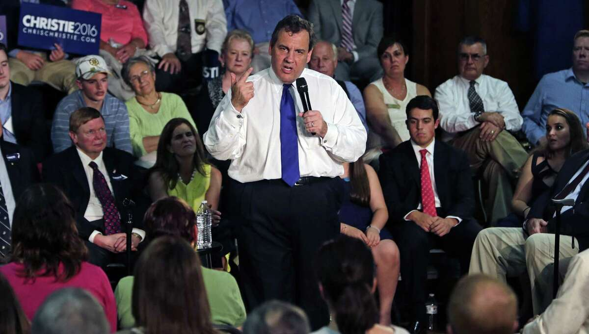 Republican presidential candidate New Jersey Gov. Chris Christie gestures during a town hall meeting campaign stop in Sandown, N.H., Tuesday. Christie announced his presidential bid earlier in the day in New Jersey.