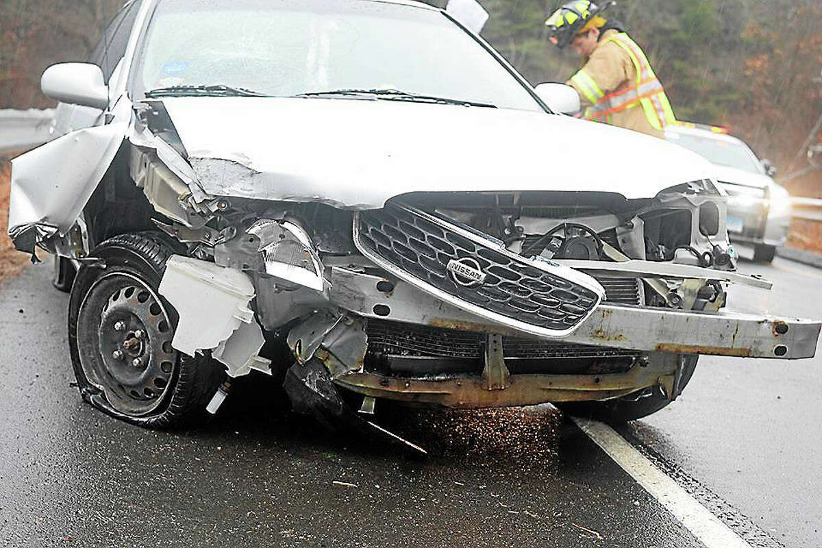Slick road apparently conditions caused a driver to lose control of her car last week in Haddam.