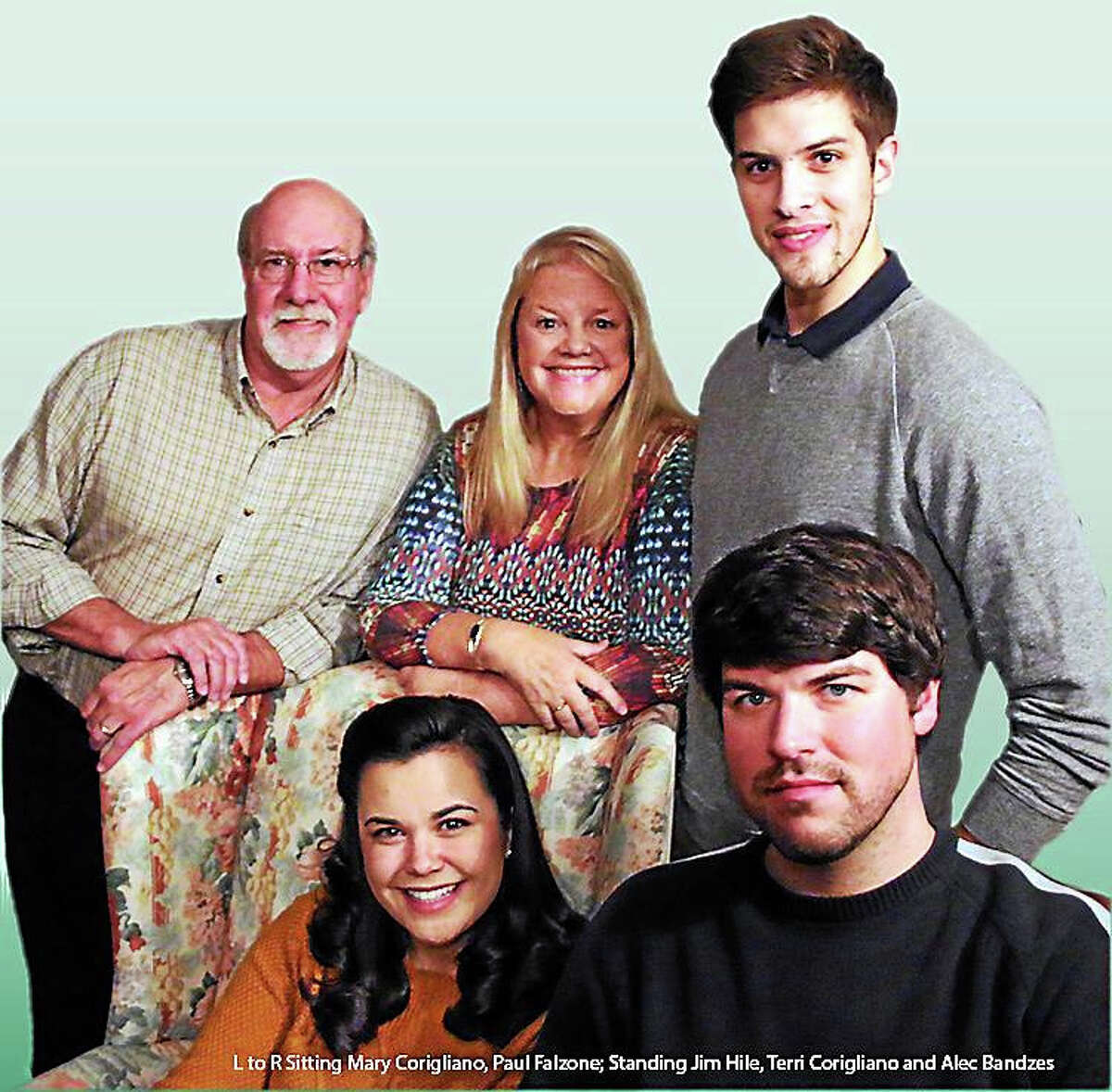 Contributed photoThe cast of Deathtrap includes Mary Corgliano and Paul Falzone, seated; and standing, from left, Jim Hile, Teri Corigliano and Alec Bandzes.