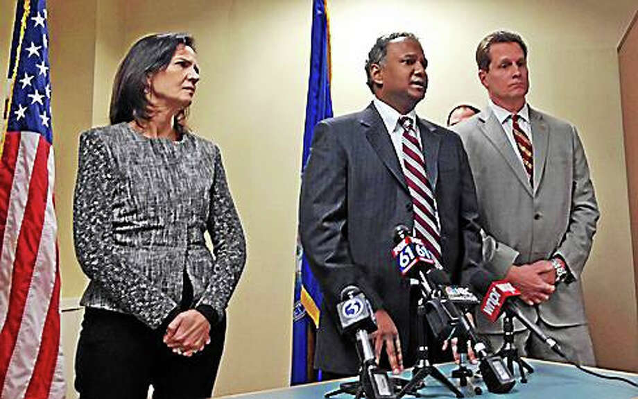 From left, U.S. Attorney Deirdre Daly, Assist. U.S. Attorney Dave Vatti and Special Agent in Charge of the ATF Boston Field Division Daniel Kumor Photo: Christine Stuart Photo Via CTNJ