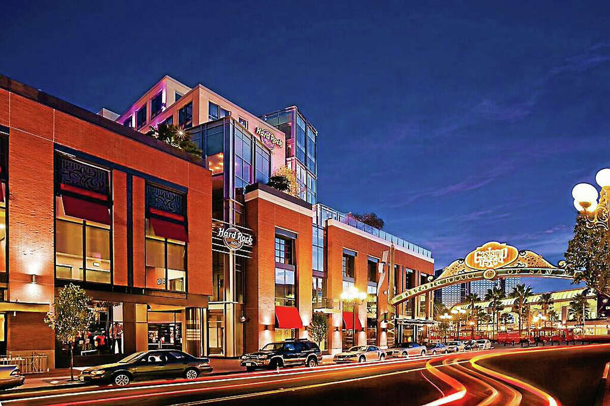 Middletown developer Centerplan Companies, in collaboration with Hard Rock International, recently unveiled plans for a new Hard Rock Hotel in Hartford set to open in fall 2018. The iconic music-based company has 23 hotels around the world, including Hard Rock Hotel San Diego (shown here).