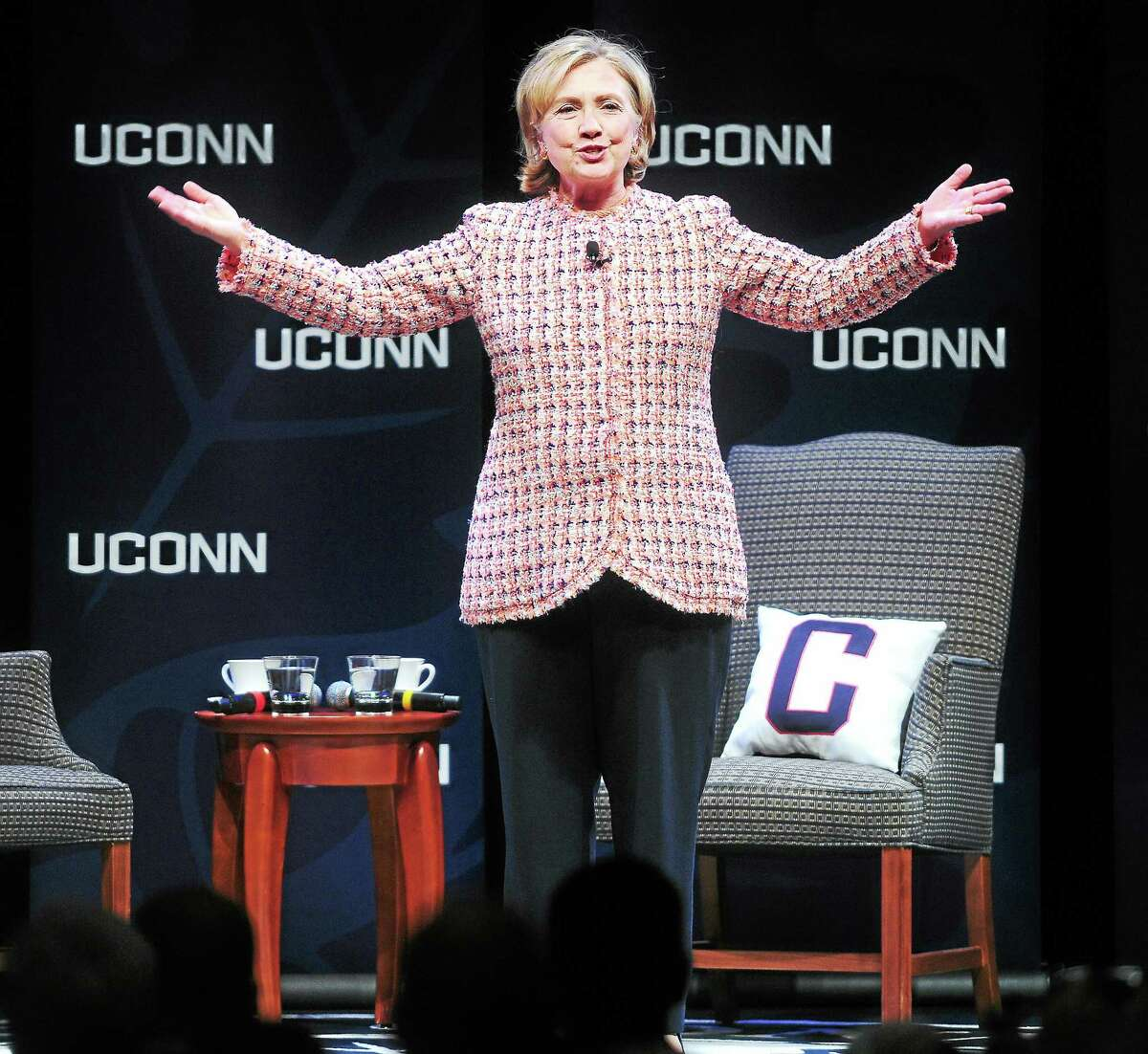 In this April 23, 2014 file photo, former Secretary of State Hillary Clinton speaks at the Edmund Fusco Contemporary Issues Forum at the University of Connecticut