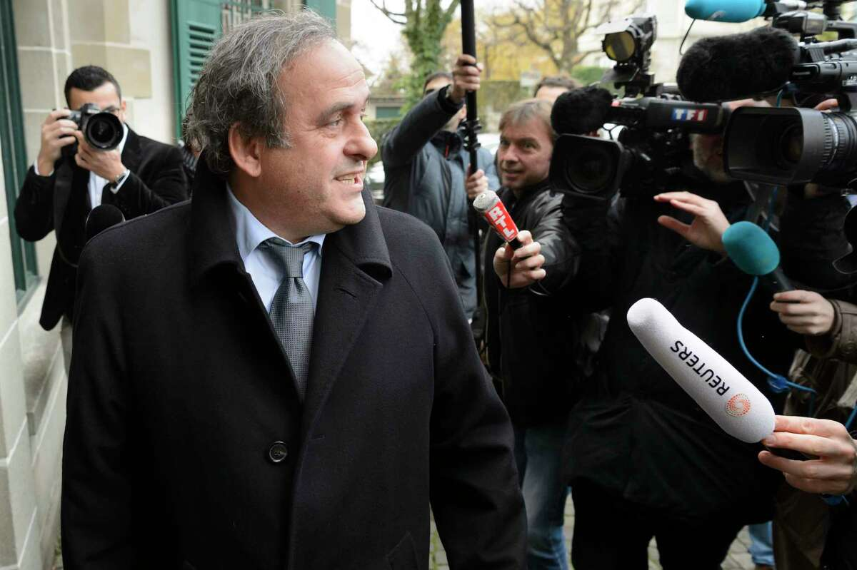 UEFA President Michel Platini of France arrives for a hearing at the international Court of Arbitration for Sport, CAS, in Lausanne, Switzerland on Dec. 8, 2015.