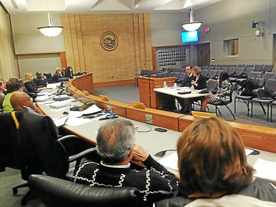 Middletown Superintendent of School Patricia Charles answers questions about the proposed 2015-16 budget before the common council this week. Photo: Brian Zahn — The Middletown Press