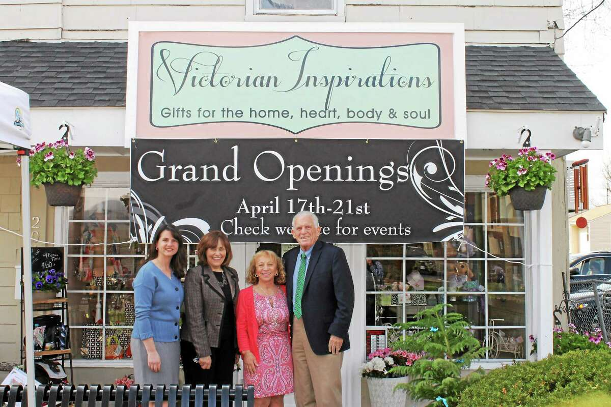 Victorian Inspirations in Portland held a grand opening April 21. Shown from left are state Rep. Christie Carpino, First Selectwoman Susan Bransfield, Ellen Foster of Victorian Inspirations and Middlesex County Chamber of Commerce President Larry McHugh.