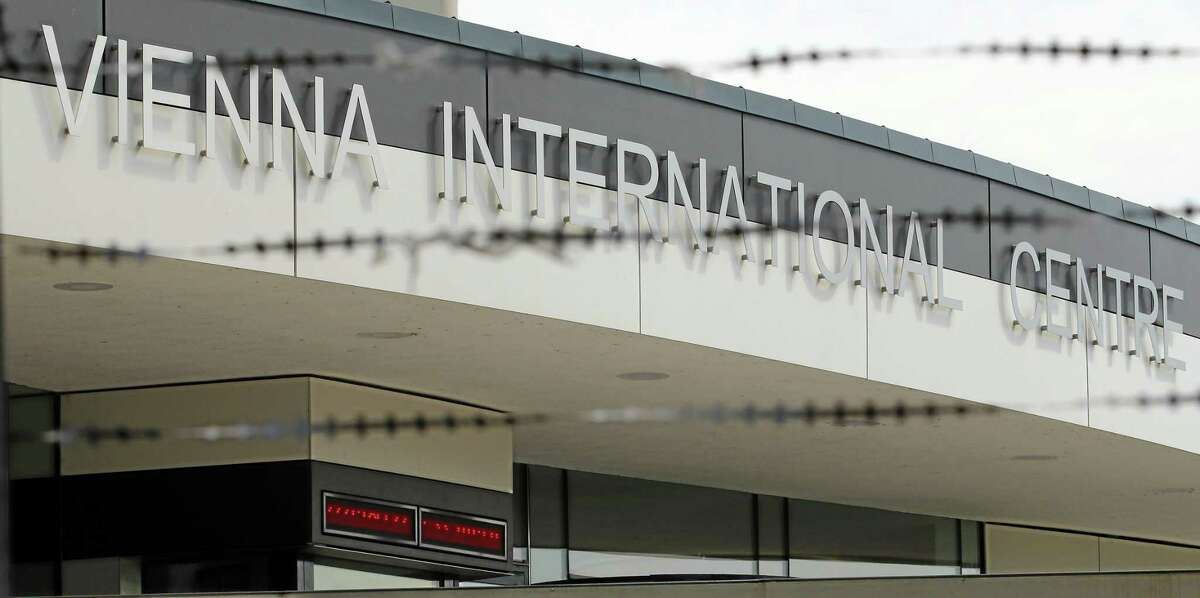 Entrance of the Vienna International Center where closed-door nuclear talks with Iran take place in Vienna, Austria, Wednesday, July 2, 2014. (AP Photo/Ronald Zak)