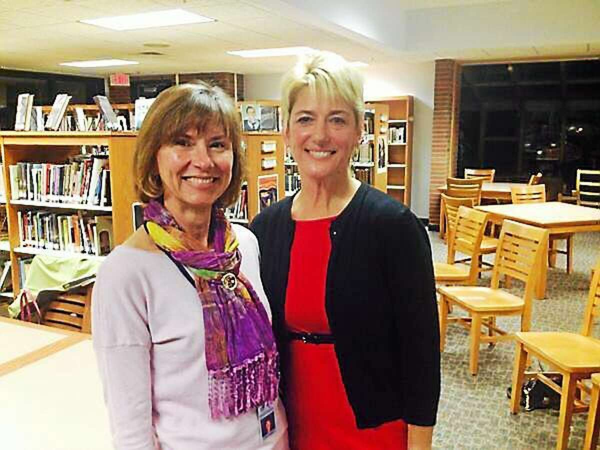 Board of Education Chairwoman Kerrie Flanagan, left, with new Region 13 Superintendent Kathryn Veronesi.