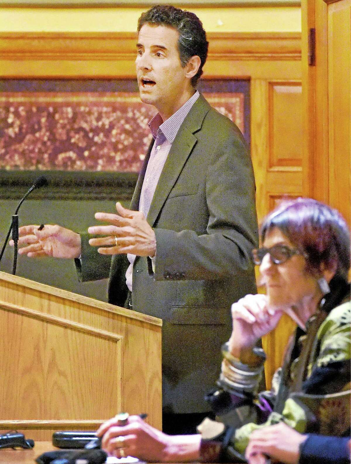 (Peter Hvizdak - New Haven Register) ¬ U.S. Representative John Sarbanes (D-MD), left, and Rosa DeLauro (D-CT),right, host a roundtable discussion on H.R. 20, the Government By The People Act, at Yale University's Linsly-Chittenden Hall Monday evening, April 20, 2015. ¬