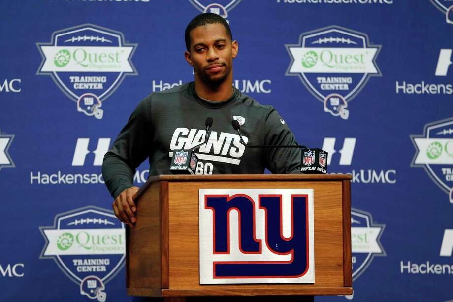 New York Giants receiver Victor Cruz speaks during Thursday's press conference in East Rutherford, N.J. Photo: Julio Cortez — The Associated Press  / AP