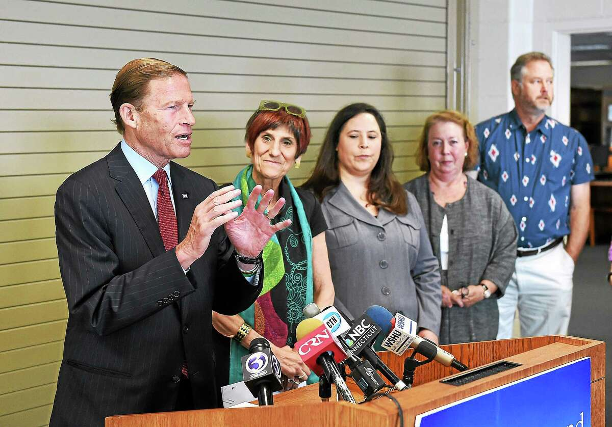 Senator Richard Blumenthal, along with Congresswoman Rosa DeLauro, speaks about the future of Plum Island during a press conference at the Sound School in New Haven. They were joined by dignitaries and activists in the fight to prevent the sale of the island to developers. July 2, 2014.